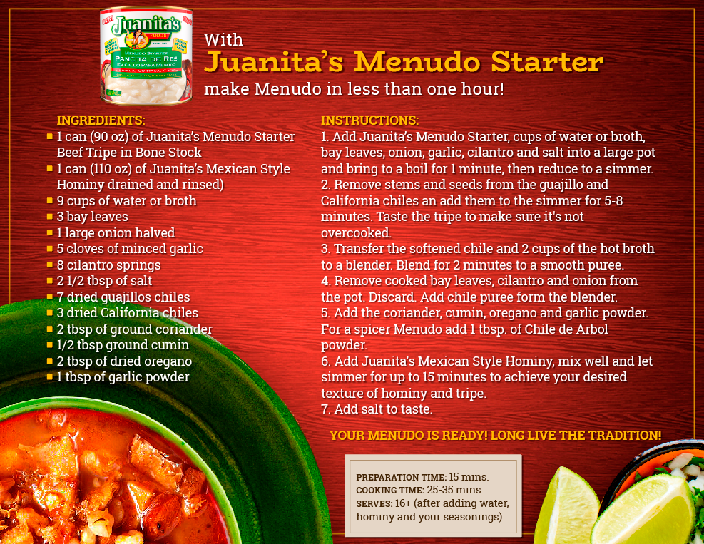 Recipe: How to cook your Menudo with Juanita's Menudo Starter?