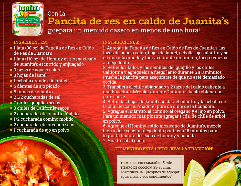Receta: ¿Cómo cocinar tu Menudo con Juanita's Menudo Starter?